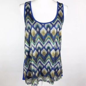Eyeshadow Brand Peacock Sequin Royal Blue Tank Top